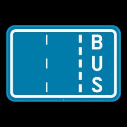 Verkeersbord F17: Dit verkeersbord is een aanduiding van de rijstroken van een rijbaan met een strook voorbehouden voor autobussen. Verkeersbord SB250 F17 - Aanduiding busbaan F17