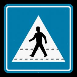 Verkeersbord F49: Dit verkeersbord geeft aan dat er hier een oversteekplaats is voor voetgangers. Verkeersbord SB250 F49 - Oversteekplaats voetgangers F49