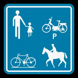 Verkeersbord F99a: Dit verkeersbord geeft aan dat deze weg of een gedeelte van deze weg voorbehouden is voor het verkeer van voetgangers, fietsers, ruiters en bestuurders van speed pedelecs. Verkeersbord SB250 F99a F99a