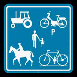 Verkeersbord F99c: Dit verkeersbord geeft aan dat deze weg voorbehouden is voor het verkeer van landbouwvoertuigen, voetgangers, fietsers, ruiters en bestuurders van speed pedelecs. Verkeersbord SB250 F99c F99c