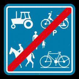 Verkeersbord F101c: Dit verkeersbord geeft aan dat vanaf hier deze weg niet meer voorbehouden is voor het verkeer van landbouwvoertuigen, voetgangers, fietsers, ruiters en bestuurders van speed pedelecs. Verkeersbord SB250 F101c F101c
