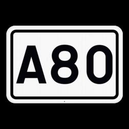 Verkeersbord F23b: Dit verkeersbord geeft de nummer aan van een autosnelweg. Verkeersbord SB250 F23b - Nummer van een autosnelweg F23b