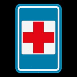 Verkeersbord F55: Dit verkeersbord geeft aan dat er een hulppost in de buurt is. Verkeersbord SB250 F55 - Hulppost F55