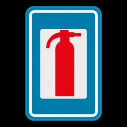 Verkeersbord F56: Dit verkeersbord geeft aan dat er een brandblusapparaat in de buurt is. Verkeersbord SB250 F56 - Brandblusapparaat F56