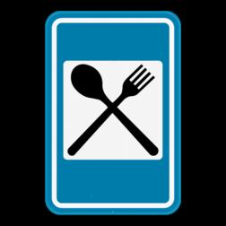 Verkeersbord F67: Dit verkeersbord geeft aan dat er een restaurant in de buurt is. Verkeersbord SB250 F67 - Restaurant F67