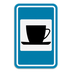 Verkeersbord F69: Dit verkeersbord geeft aan dat er een drankgelegenheid, café of koffiehuis in de buurt is. Verkeersbord SB250 F69 - Drankgelegenheid F69