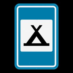 Verkeersbord F71: Dit verkeersbord geeft aan dat er een kampeerterrein in de buurt is. Verkeersbord SB250 F71 - Kampeerterrein F71