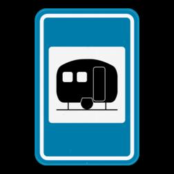 Verkeersbord F73: Dit verkeersbord geeft aan dat er een caravanterrein of woonwagenpark in de buurt is. Verkeersbord SB250 F73 - Caravanterrein F73