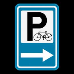 Verkeersbord F59b: Dit verkeersbord kondigt een fietsparking aan. De pijl kan links of rechts wijzen. Verkeersbord SB250 F59b - Aankondiging van een fietsparking F59b