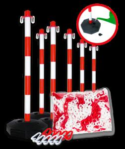 Kunststof kettingpalen + ketting en sluithaken - Pakketprijs kettingpalen, rood, wit, kunststof, ketting, sluithaken, verplaatsbaar, afzetten
