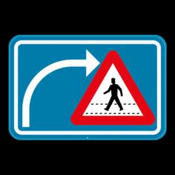 Verkeersbord F50bis: Dit verkeersbord geeft aan dat de bestuurders die van richting veranderen extra moet opletten voor fietsers en bestuurders van tweewielige bromfietsen die dezelfde openbare weg volgen. Verkeersbord SB250 F50bis - Opgepast als je van richting veranderd, voetgangers F50bis
