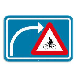 Verkeersbord F50bis: Dit verkeersbord geeft aan dat de bestuurders die van richting veranderen extra moet opletten voor fietsers en bestuurders van tweewielige bromfietsen die dezelfde openbare weg volgen. Verkeersbord SB250 F50bis - Opgepast als je van richting veranderd, fietsers F50bis
