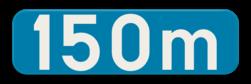 Verkeersbord GIa: Dit verkeersbord geeft de afstand weer tot de aanduiding die op het verkeersbord staat dat er boven hangt. Verkeersbord SB250 G type Ia - Aanduiding van een afstand GIa