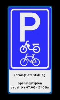 Verkeersbord Fietsenstalling bord + parkeren (brom)fietsen met eigen tekst Verkeersbord fietsenstalling parkeren (brom)fietsen + eigen tekst Prive, eigen, terrein, a1, e4, snelheid, parkeren, eigen, tekst, wegsleep, regeling, verboden, toegang, artikel, 461