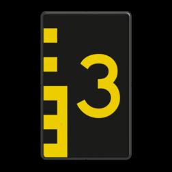 Scheepvaartbord Hoogteaanduiding van de vaarweg. Een hoogteschaal met onderverdeling wordt toegepast wanneer een zekere nauwkeurigheid van aflezing mogelijk en verreist is. Een hoogteschaal plaatst men in principe aan de vanaf een naderend schip gezien stuurboordzijde of bakboordzijde van de doorvaartopening. Scheepvaartbord BPR G. 5.1 oneven 600x1000mm - Hoogteschaal geel/zwart G. 5.1 water, brug, hoogte, waterweg, waterwegen, scheepvaarttekens, verkeerstekens,
