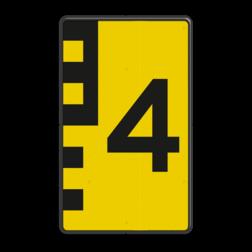 Scheepvaartbord Hoogteaanduiding van de vaarweg. Een hoogteschaal met onderverdeling wordt toegepast wanneer een zekere nauwkeurigheid van aflezing mogelijk en verreist is. Een hoogteschaal plaatst men in principe aan de vanaf een naderend schip gezien stuurboordzijde of bakboordzijde van de doorvaartopening. Scheepvaartbord BPR G. 5.1 even 600x1000mm - Hoogteschaal zwart/geel G. 5.1 water, brug, hoogte, waterweg, waterwegen, scheepvaarttekens, verkeerstekens,