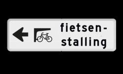 Routebord pijl links - fietsenstalling routebord, camping, eigen terrein, bezoekers, fietsenstalling, parkeren, pijlbord