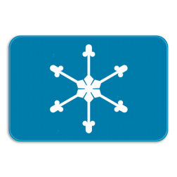 Verkeersbord GIII: Dit verkeersbord duid de aard van het gevaar of van de omstandigheden waarin het verkeersbord van toepassing is. In dit geval ijzel. Verkeersbord SB250 G type III - Opgepast kans op ijzel GIII
