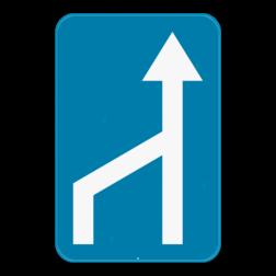Verkeersbord F97: Dit verkeersbord geeft aan dat er een versmalling die de omvang van een rijstrook heeft. Verkeersbord SB250 G type IX - Versmalling van een rijstrook GIX