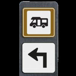 Product Camperplaats + pijl rechtdoor linksasf Verzwaarde bermpaal met camperplaats bord en pijlbord terreinbord, informatiebord, camper, camperplaats, pijlverwijzing, recreatie, toerisme, toeristisch