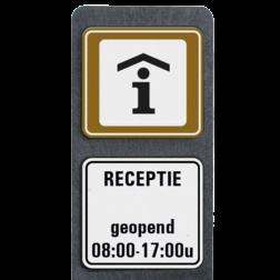 Product Receptie / Informatiekantoor + tekst openingstijden Verzwaarde bermpaal met aanduiding Receptie / Informatiekantoor + tekst vrij invoerbaar terreinbord, informatiebord, receptie, informatiepunt