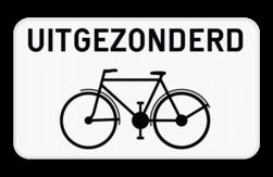 Verkeersbord M2: Dit onderbord geeft aan dat het bovenstaand verkeersbord niet van toepassing is voor fietsers. Verkeersbord SB250 M2 - Uitgezonderd fietsers M2