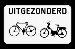 Verkeersbord M3bis: Dit onderbord geeft aan dat het bovenstaand verkeersbord niet van toepassing is voor fietsers en bromfietsers klasse A, B en speed pedelecs. Verkeersbord SB250 M3bis - Uitgezonderd fietsers en bromfietsers M3bis