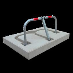 Anti parkeerbeugel verzonken 950x450x48mm staal + betonfundatie - in straatwerk parkeerbeugel, parkeerplaatsbeugel, overrijdbaar, inzinkbaar, verzonken, betonvoet, beton