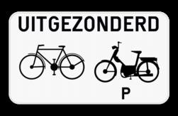 Verkeersbord M11: Dit onderbord geeft aan dat het bovenstaand verkeersbord niet van toepassing is voor fietsers en speed pedelecs. Verkeersbord SB250 M11 - Uitgezonderd fietsers en speed pedelecs M11