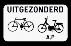 Verkeersbord M12: Dit onderbord geeft aan dat het bovenstaand verkeersbord niet van toepassing is voor fietsers, bromfietsers klasse A en speed pedelecs. Verkeersbord SB250 M12 - Uitgezonderd fietsers, bromfietsers klasse A en speed pedelecs M12