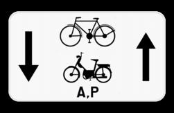 Verkeersbord M18: Dit onderbord geeft aan dat fietsers, bromfietsen klasse A en speed pedelecs een uitzondering hebben en in 2 richtingen op de weg mogen rijden. Verkeersbord SB250 M18 - Fietsers, bromfietsen klasse A en speed pedelecs mogen in 2 richtingen M18