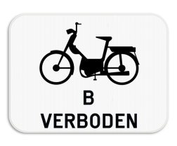 Verkeersbord M7: Dit onderbord is een aanvulling op een D7 bord en verbied tweewielige bromfietsers klasse B om ook het fietspad te gebruiken. Verkeersbord SB250 M7 - Verbod voor bromfietsen klasse B M7