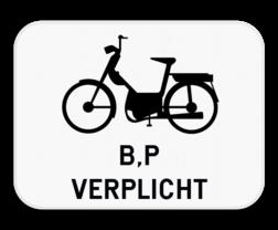 Verkeersbord M14: Dit onderbord is een aanvulling op een D7 bord en verplicht bromfietsen klasse B en speed pedelecs om ook het fietspad te gebruiken. Verkeersbord SB250 M14 - Verplichting bromfietsen klasse B en voor speed pedelecs M14
