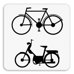Verkeersbord M8: Dit onderbord is een aanvulling op een verkeersbord en geeft aan dat dit voorbehouden is of enkel van toepassing is voor fietsers en bestuurders van tweewielige bromfietsen. Verkeersbord SB250 M8 - Enkel voor fietsers en bromfietsers M8
