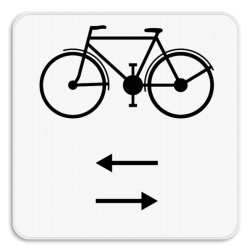 Verkeersbord M9: Dit onderbord geeft aan dat fietsers in de twee rijrichtingen rijden op de dwarslopende openbare weg die men gaat oprijden. Verkeersbord SB250 M9 - Fietsers in twee richtingen op de dwarslopende weg die je gaat oprijden M9