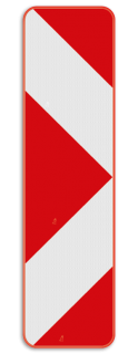 Verkeersbord Type Ib2: Dit verkeersbord is een baken voor signalisatie op afstand, splitsing rechts. Verkeersbord SB250 Type Ib2 - Baken voor signalisatie op afstand, splitsing rechts Type Ib2