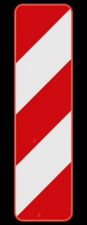 Verkeersbord Type IIa: Dit verkeersbord is een baken voor zijdelingse signalisatie, links. Verkeersbord SB250 Type IIa - Baken voor zijdelingse signalisatie, links Type IIa