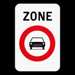Verkeersbord ZC5: Dit verkeersbord geeft aan dat hier het begin is van een zone waar het verboden is voor bestuurders van motorvoertuigen met meer dan twee wielen en van motorfietsen met zijspan. Verkeersbord SB250 ZC5 ZC5