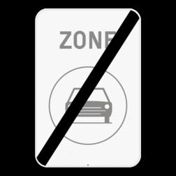 Verkeersbord ZC5/: Dit verkeersbord geeft aan dat hier het einde is van een zone waar het verboden is voor bestuurders van motorvoertuigen met meer dan twee wielen en van motorfietsen met zijspan. Verkeersbord SB250 ZC5/ - einde ZC5/