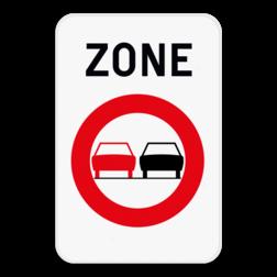 Verkeersbord ZC35: Dit verkeersbord geeft aan dat hier het begin is van een zone waar het verboden is een gespan of een voertuig met meer dan twee wielen links in te halen. Verkeersbord SB250 ZC35 ZC35