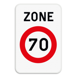 Verkeersbord ZC43: Dit verkeersbord geeft aan dat hier het begin is van een zone waar de snelheid beperkt is tot de aangeduide snelheid. Verkeersbord SB250 ZC43 - Zone met een snelheidsbeperking ZC43