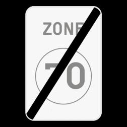 Verkeersbord ZC45: Dit verkeersbord geeft aan dat hier het einde is van een zone waar de snelheid beperkt is tot de aangeduide snelheid. Verkeersbord SB250 ZC45 - Einde zone met een snelheidsbeperking ZC45
