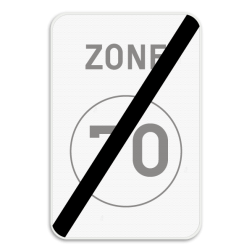 Verkeersbord ZC45: Dit verkeersbord geeft aan dat hier het einde is van een zone waar de snelheid beperkt is tot de aangeduide snelheid. Verkeersbord SB250 ZC45 - Einde ZC45