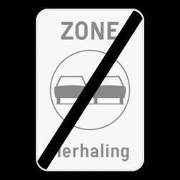 Verkeersbord ZC35T/: Dit verkeersbord geeft aan dat hier het einde is van een zone waar het verboden is een gespan of een voertuig met meer dan twee wielen links in te halen. Bij dit bord is het mogelijk om een tekst te plaatsen onder het verbodsteken. Verkeersbord SB250 ZC35T/ - Einde zone verboden inhalen ZC35T/