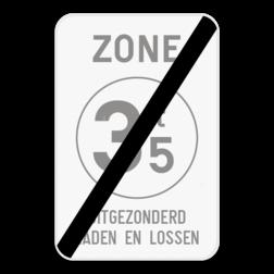 Verkeersbord ZC21T/: Dit verkeersbord geeft aan dat hier het einde is van een zone waar de toegang verboden is voor bestuurders van voertuigen waarvan de massa in beladen toestand hoger is dan de aangeduide massa. Bij dit bord is het mogelijk om een tekst te plaatsen onder het verbodsteken. Verkeersbord SB250 ZC21T/ - Einde ZC21T/