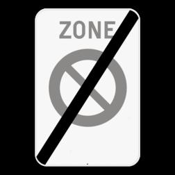 Verkeersbord ZE1: Dit verkeersbord geeft aan dat hier het einde is van een zone waar het verboden te parkeren. Je kan dit bord ook voorzien van een beperking. Bijvoorbeeld van 9 tot 17u, of enkel op zon- en feestdagen. Verkeersbord SB250 ZE1/ - Einde zone parkeerverbod ZE1/