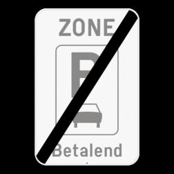 Verkeersbord ZE9aT/: Dit verkeersbord geeft aan dat hier het einde is van een zone waar parkeren uitsluitend toegelaten is voor motorfietsen, personenauto's, auto's voor dubbelgebruik en minibussen. Je kan dit bord ook voorzien van een beperking of aanvulling. Verkeersbord SB250 ZE9aT/ - Einde ZE9aT/