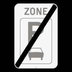 Verkeersbord ZE9a/: Dit verkeersbord geeft aan dat hier het einde is van een zone waar parkeren uitsluitend toegelaten is voor motorfietsen, personenauto's, auto's voor dubbelgebruik en minibussen. Verkeersbord SB250 ZE9a/ - Zone parkeren uitsluitend voor auto's ZE9a/