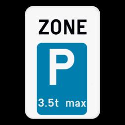 Verkeersbord ZE9T: Dit verkeersbord geeft aan dat hier het begin is van een zone waar parkeren voorbehouden is voor voertuigen die voldoen aan de beperking die op het verkeersbord wordt aangegeven. Bijvoorbeeld, een maximum gewicht van 3,5 ton, maximum 30 min, ... Verkeersbord SB250 ZE9T - Zone parkeren voor voertuigen met een uitzondering ZE9T