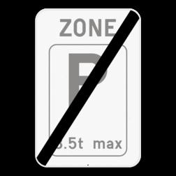 Verkeersbord ZE9T/: Dit verkeersbord geeft aan dat hier het einde is van een zone waar parkeren voorbehouden is voor voertuigen die voldoen aan de beperking die op het verkeersbord wordt aangegeven. Bijvoorbeeld, een maximum gewicht van 3,5 ton, maximum 30 min, ... Verkeersbord SB250 ZE9T/ - Einde ZE9T/